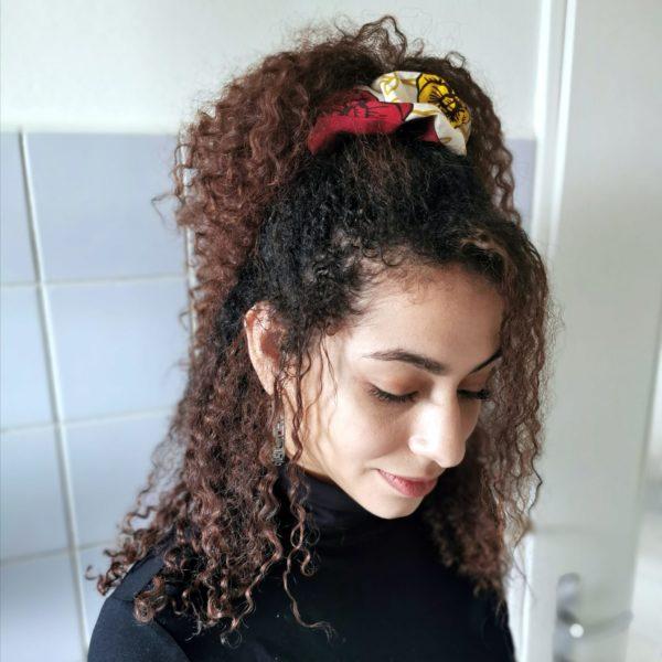 chouchou wax réversible bordeau fleuri